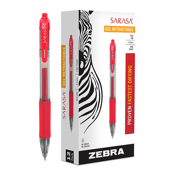 Zebra Sarasa 0.5mm Gel Pen - Red (pkt/12pcs)